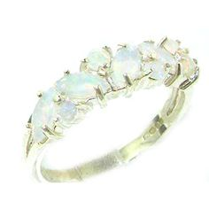 925 Sterling Silver Natural Opal Womens Eternity Ring  Sizes 4 to 12 Available ** Click image for more details.(This is an Amazon affiliate link)