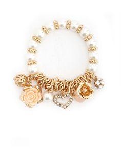 Heart & Blossoms Charm Bracelet: Charlotte Russe