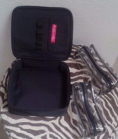 Bare Minerals Travel Cosmetic Bag BLACK- 3 pieces + Brush Holder-LARGE BAG!! #BareEscentuals