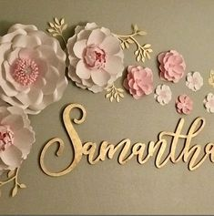 Above the Crib Name Sign – The Gilded Line Paper Flower Wall, Paper Flower Backdrop, Flower Wall Decor, Paper Flowers, Girl Names, Baby Names, Name Above Crib, Laser Cutting Service, Baby Name Signs