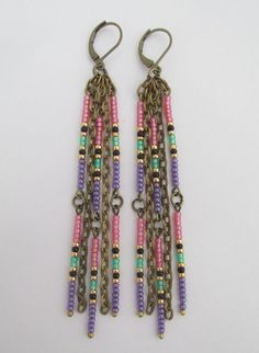 Seed Bead Dangle Chain Earrings