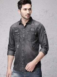 4fe14c44ef Sulphur denim with badges - Ecko Unltd India