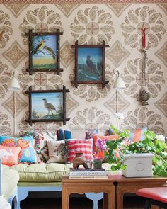 Rodman Primack house - Peter Dunham Samarkand fabric wall