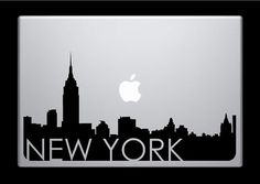 New York Skyline Macbook Decal With Writing / Macbook Sticker / Laptop Sticker - 3