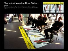 Floor sticker of skis turns bench into chair lift.