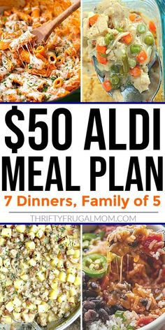This budget friendly Aldi Meal Plan gives you everything you need to feed your family of 5 for just $50! It includes 7 easy dinners that are simple to make, healthy, and delicious plus a shopping list to make things super convenient for you. Take the guesswork out of what to have for dinner this week! #thriftyfrugalmom #Aldimealplan #menuplan