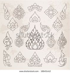 Doodle Thai Arts Pattern And  Design Elements And Page Decoration - Lots Of Useful Elements To Embellish Your Layout, Vector Illustrator - 186451412 : Shutterstock