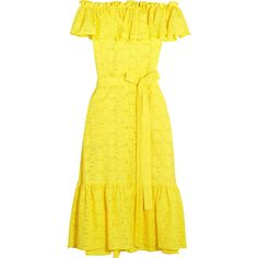 Lisa Marie Fernandez Mira off-the-shoulder broderie anglaise cotton... (21,650 MXN) ❤ liked on Polyvore featuring dresses, yellow cotton dress, yellow off the shoulder dress, off the shoulder ruffle dress, cotton midi dress and floral midi dress