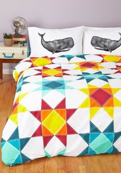 Quilt for the Day Duvet Cover in Full/Queen - Multi, Quirky, Colorblocking, Best, Print, Exclusives, Graduation, Dorm Decor
