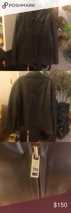 Tommy Hilfiger brown leather, zip jacket Tommy Hilfiger brown, super soft leather, zip jacket with quilted and houndstooth tweed lining. One inner pocket, and two out. Snap button closure at cuffs. No damage to leather or rips/stains to lining or pockets. Only some minor fading to leather at some corners. EUC! Tommy Hilfiger Jackets & Coats