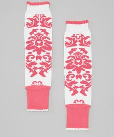 Take a look at this White & Hot Pink Damask Leg Warmers on zulily today!
