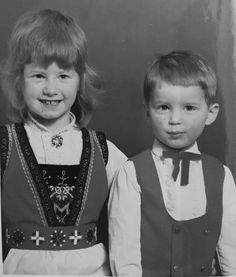 Me and my little brother.  I'm wearing a Hardanger bunad, which I inherited of my grandgrand mother. I was 5 years old on the picture, and my daugther will use it on the Norwegian national day 17.05.2017. And the bunad is over 100 years old. SO PROUD❤️