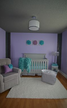 Grey, Purple and Blue nursery room. Glass florescent tile columns down the corners of the wall. With grey ceiling. Inspired by acrylic paints I found in a craft store. I added the purple after finding out the gender of our baby at birth.
