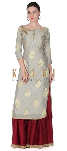 Pakistani dresses - Buy this Grey straight suit embellished in zardosi butti only on Kalki Pakistani Dresses, Indian Dresses, Indian Outfits, Salwar Designs, Blouse Designs, Indian Attire, Indian Wear, Indian Designer Wear, Saree Dress