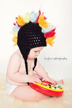 Baby Rocker Mohawk hat with braided earflaps by mandag433 on Etsy, $25.00