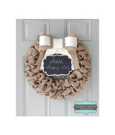 Burlap Wreath with Chalkboard - Newborn Wreath, Summer Wreath, Baby Wreath, Front Door Wreath, Hospital Door Wreath, Rustic Wreath via Etsy