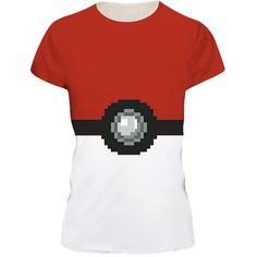Womens Pokemon 3D Printed Crewneck Short Sleeve T-Shirt Red ($9.59) ❤ liked on Polyvore featuring tops, t-shirts, red, short sleeve tops, white tee, white crew neck t shirt, white short sleeve t shirt and short sleeve tee