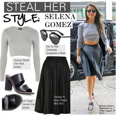 Steal Her Style-Selena Gomez by kusja on Polyvore featuring mode, Carvela Kurt Geiger, Topshop, Christian Dior, selenagomez, topshop, Stealherstyle and celebstyle