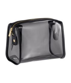 Spacious makeup bag in soft, transparent plastic with faux leather details. Zipper at top that can be secured with snap fasteners at sides. Travel Cosmetic Bags, Cosmetic Pouch, Travel Bag, H&m Fashion, Fashion Bags, Cute Pencil Case, Transparent Bag, Makeup Pouch, Clear Bags