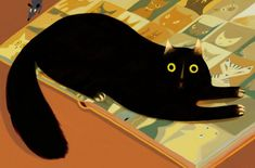 """Illustration by Beppe Giacobbe for the book """"Nobody nosier than a cat"""" by Susan Campbell Bartoletti"""