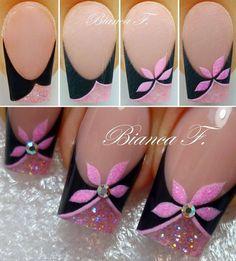 Fabulous Pink and Black Nail Art Tutorial Fancy Nails, Diy Nails, Cute Nails, Pretty Nails, Nail Polish Designs, Cute Nail Designs, Nails Factory, Jolie Nail Art, Nagel Hacks
