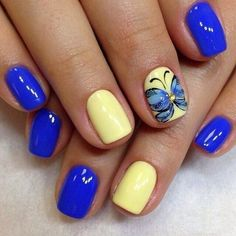 A magnificent bright manicure will delight the eye with its glossy blue luster. The design will look great on the nails of medium length. Nails better to c