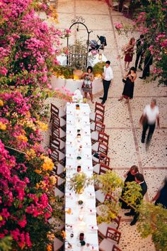 Photo: Joel Bedford Weddings; An aerial view of one romantic wedding reception in Seville, Spain!