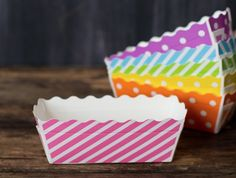 Pretty paper baking loaf pans for hostess gifts and bake sales.  They can go in the oven at up to 400 degrees.
