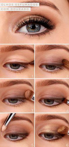 Para quem gosta de olhos esfumados com dourado, temos um tutorial de maquiagem fácil e lindo! Vem ver o passo a passo e se inspirar para a festa de 15 anos!