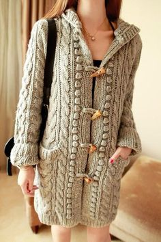 Women's Hand Knitted Hooded Coat with Pockets. Any Sizes and Any Colors. Made by KnitWearMasters: of Satisfied Customers, Worl Stylish Outfits, Fashion Outfits, Womens Fashion, Fashion Styles, Knitted Coat, Cardigans For Women, Cable Knit, Hand Knitting, Knitting Sweaters