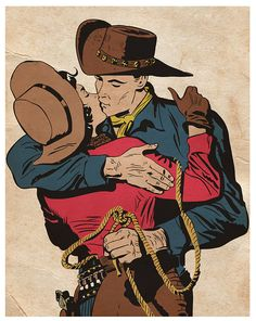 WESTERN LOVE Comic Book Art Vintage Style by vintagecomiccreation, $11.00