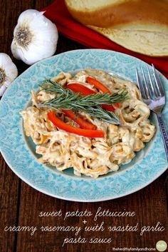 Sweet Potato Fettuccine and Creamy Rosemary with Roasted Garlic Sauce...a savory, rustic meal that's ready in less than 20 minutes and it's vegan, gluten-free