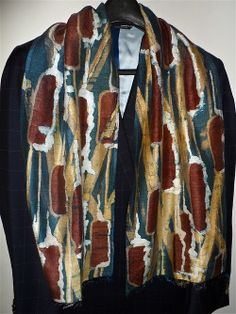 """I just fell in love with this gorgeous new Dupioni silk scarf designed by silk artist Laura Elderton (visit LauraElderton on Etsy). The rich colours in this """"Bulrushes"""" pattern are absolutely stunning!"""