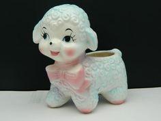 SOLD - Vintage Lamb Big Eye Baby Nursery Flower Planter Dresser Caddy Pink Blue Pastel