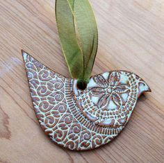 Dove Ornament - Cream / White / Turquoise Blue - Ceramic Stoneware Pottery
