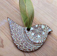 Dove Ornament - Cream / White / Turquoise Blue - Ceramic Stoneware Pottery