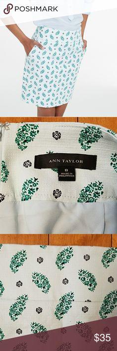 "Ann Taylor Pencil Skirt Ann Taylor Floral Paisley Pencil Skirt. Size 8.  Has pockets!  16.5"" across the waist.  18.25"" long.  Super cute skirt for spring! Ann Taylor Skirts Pencil"