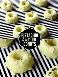 Maybe I will actually brake out my donut pan!-Mini Pistachio Almond Donuts - Taste like mini petit four donuts! Just Desserts, Delicious Desserts, Dessert Recipes, Yummy Food, Tasty, Donut Recipes, Cooking Recipes, Baked Mini Donuts Recipe, Homade Donuts