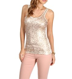 Ivory Gold Sequin Tank Top