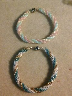 I made 2 triple spiral bracelets using 8/0 seed beads and 11/0 delica beads.