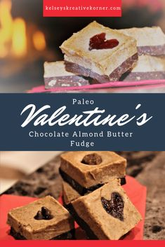 Yummy almond fudge on a dark chocolate base is sure to sweeten up anybody's day! Paleo Chocolate, Chocolate Drizzle, Like Chocolate, Mini Chocolate Chips, Chocolate Peanuts, Valentine Chocolate, Fudge Recipes, Eat Breakfast, Almond Butter