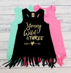 DISCOUNT code ANNABELLE15 on all Vazzie Tees purchases www.etsy.com/shop/vazzietees  Young Wild and Three - Birthday Dress - THREE Year Old - Toddler Birthday - Third Birthday - Birthday Dress - Fringe Dress - Young and Wild by VazzieTees on Etsy https://www.etsy.com/listing/400686113/young-wild-and-three-birthday-dress