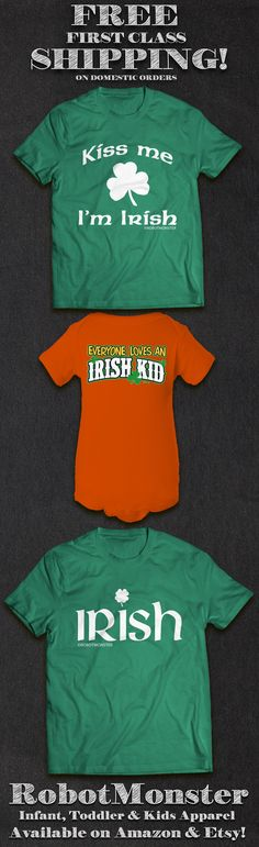 Erin go Bragh! Perfect for St. Patrick's Day, our Irish themed designs are available in a variety of colors, sizes and garment styles! Adorable for both girls and boys, they make great gifts for proud Irish kids, expectant moms/dads, baby showers/sprinkles, and babies. Éirinn go Brách! Available now on our Amazon & Etsy shops.  Don't forget, we offer FREE shipping on ALL domestic orders! https://www.etsy.com/shop/robotmonsterclothing http://www.amazon.com/shops/RobotMonsterClothing