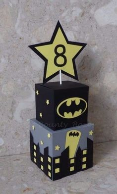 Batman Inspired Table Centrepieces by WeeBountyBoxes on Etsy Más Lego Batman Birthday, Lego Batman Party, Superhero Birthday Party, 6th Birthday Parties, Boy Birthday, Batman Party Supplies, Avenger Party, Batman Party Centerpieces, Birthday Decorations