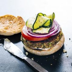 Zucchini Burgers | MyRecipes.com We've given the veggie burger a serious upgrade, with browned mushrooms, nuts, and spices in the shredded zucchini patties, and raw zucchini ribbons on top for freshness.