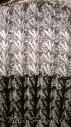 Keksin uuden resorimallin , kun istuin junassa ja neuloin 2 o 2 n -resoria tavalliseen sukkaan. Oli niin tylsää tehdä tavallista resoria, jo... Knitting Stitches, Knitting Socks, Knitted Hats, Knitting Patterns, Yarn Crafts, Diy And Crafts, Diy Crochet, Stitch Patterns, Needlework