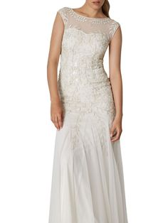 Buy Phase Eight Bridal Sabina Embellished Wedding Dress, Pearl, 10 from our Women's Dresses range at John Lewis & Partners. Free Delivery on orders over High Street Wedding Dresses, Wedding Dresses Under 500, Expensive Wedding Dress, Boho Wedding Dress, Bridal Dresses, Women's Dresses, High Street Fashion, Phase Eight Bridal, Plus Size Gowns