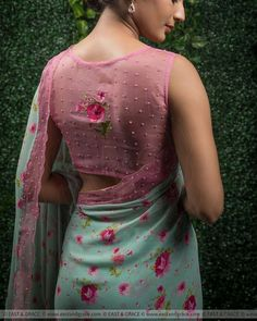 Shruti Pure Floral and Saree by Designer Blouse Ideas . Tag your picture to get featured on this page . Blouse Back Neck Designs, Silk Saree Blouse Designs, Fancy Blouse Designs, Bridal Blouse Designs, Blouse Patterns, Sari Design, Net Saree Blouse, Embroidery Designs, Stylish Blouse Design