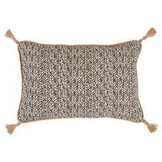 Jala Bazaar Grey Granite Graphic Jute Tassel Pillow - 13x19 | Kathy Kuo Home