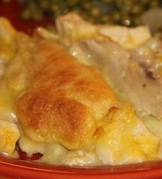 Chicken & Dumpling Bake      3-4 c of cooked chicken,1/4 c unsalted butter,1 c of self-rising flour,1 c of milk,2 c chicken stock,1 can of Campbell's condensed cream of ch soup.Oven 400 degrees F. Melt butter & pour in9 x 13  pan. Shred chicken;spread on top. Whisk milk & flour and pour chicken slowly. Do not stir. Whisk broth & soup. Slowly pour over mix. Do not stir.Bake uncovered 35-45 min